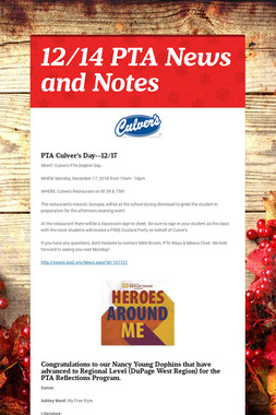 12/14 PTA News and Notes