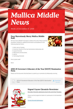 Mullica Middle News