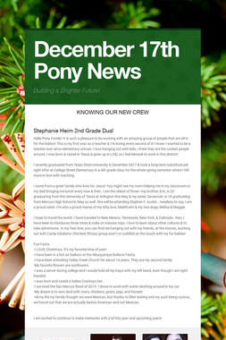 December 17th Pony News