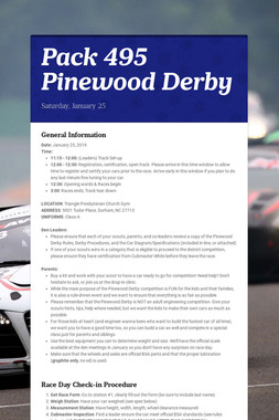Pack 495 Pinewood Derby