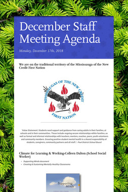 December Staff Meeting Agenda