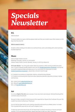 Specials Newsletter