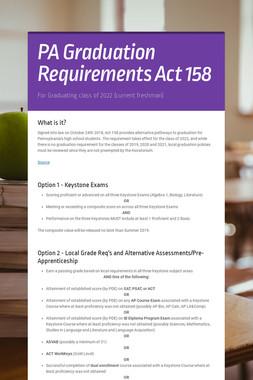 PA Graduation Requirements Act 158