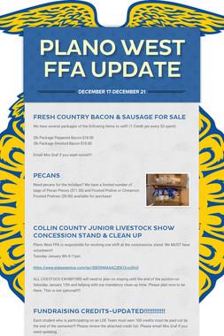 Plano West FFA Update