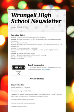 Wrangell High School Newsletter