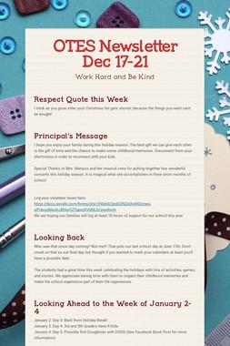 OTES Newsletter Dec 17-21