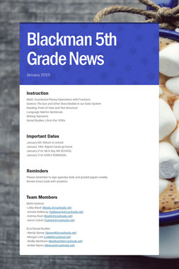 Blackman 5th Grade News
