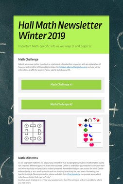Hall Math Newsletter Winter 2019