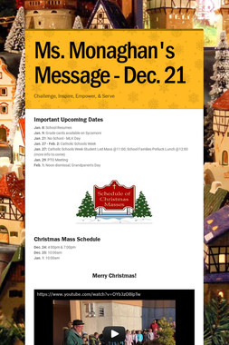 Ms. Monaghan's Message - Dec. 21