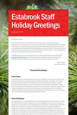 Estabrook Staff Holiday Greetings