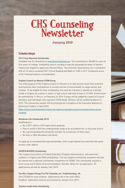 CHS Counseling Newsletter