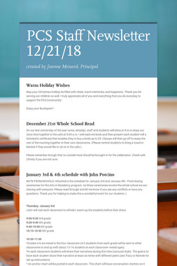 PCS Staff Newsletter 12/21/18