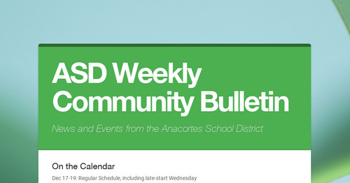 ASD Weekly Community Bulletin   Smore Newsletters