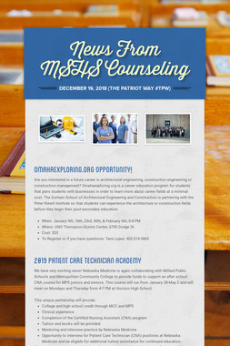News From MSHS Counseling
