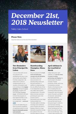 December 21st, 2018 Newsletter