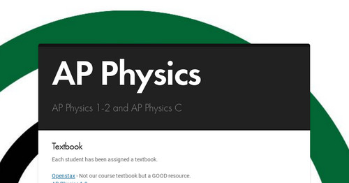 AP Physics | Smore Newsletters for Education