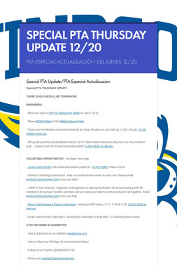 SPECIAL PTA THURSDAY UPDATE 12/20