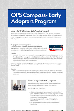 OPS Compass- Early Adopters Program