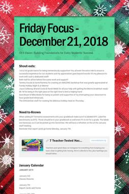 Friday Focus - December 21, 2018