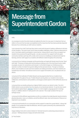 Message from Superintendent Gordon
