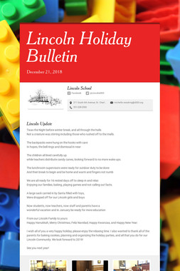 Lincoln Holiday Bulletin