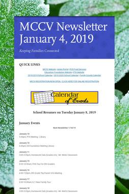 MCCV Newsletter January 4, 2019