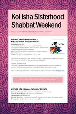 Kol Isha Sisterhood Shabbat Weekend