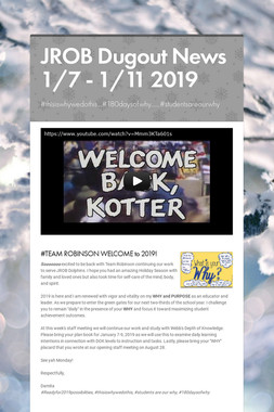 JROB Dugout News 1/7 - 1/11 2019