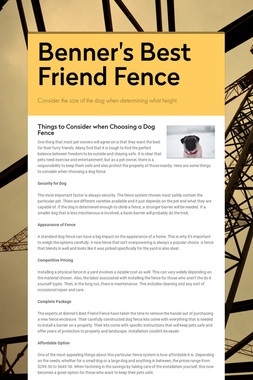 Benner's Best Friend Fence