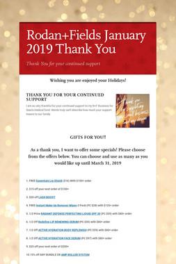Rodan+Fields January 2019 Thank You