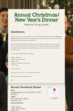 Annual Christmas/ New Year's Dinner