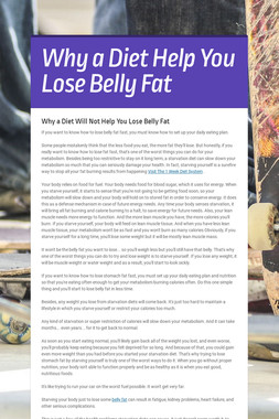 Why a Diet Help You Lose Belly Fat