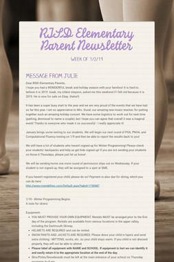 RISD Elementary Parent Newsletter