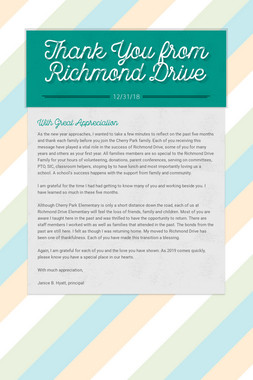 Thank You from Richmond Drive