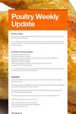 Poultry Weekly Update