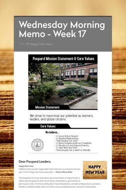 Wednesday Morning Memo - Week 17