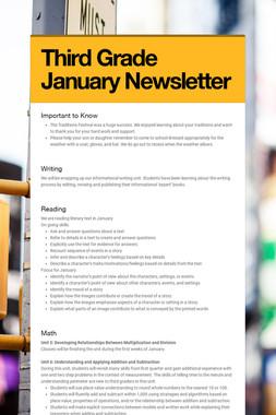 Third Grade January Newsletter