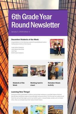 6th Grade Year Round Newsletter