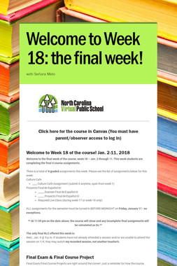 Welcome to Week 18: the final week!