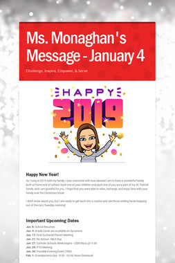 Ms. Monaghan's Message - January 4