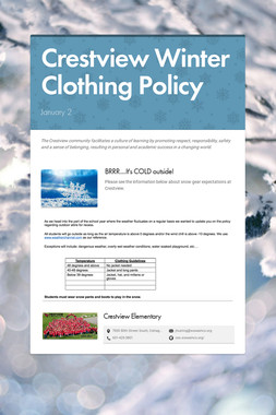 Crestview Winter Clothing Policy