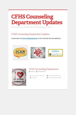 CFHS Counseling Department Updates