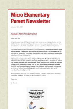 Micro Elementary Parent Newsletter