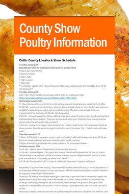 County Show Poultry Information