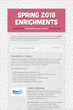Spring 2018 Enrichments