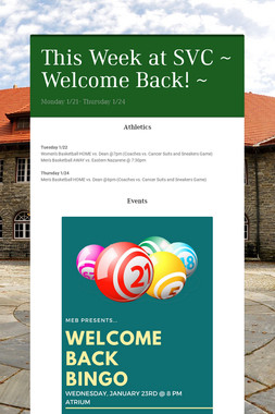 This Week at SVC ~ Welcome Back! ~