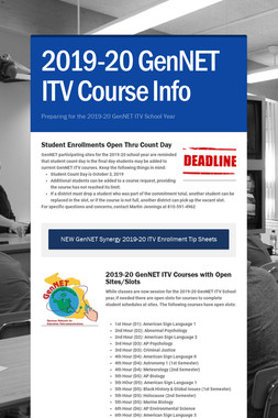 2019-20 GenNET ITV Course Info