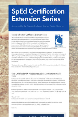 SpEd Certification Extension Series