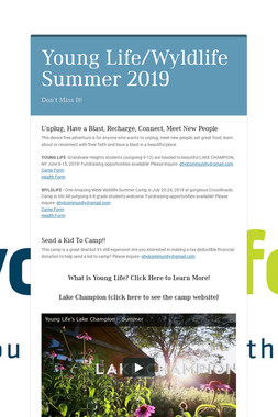 Young Life/Wyldlife Summer 2019