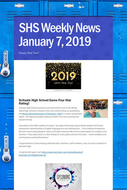 SHS Weekly News January 7, 2019